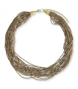 Kralen halsketting van meerdere strengen brons goudkleurige glas kraaltjes