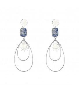 Zilverkleurige oorbellen met een blauwe natuursteen en ovale hangers met een zon