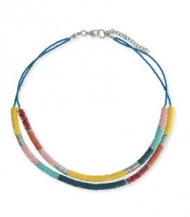 Gekleurde korte halsketting van platte kralen