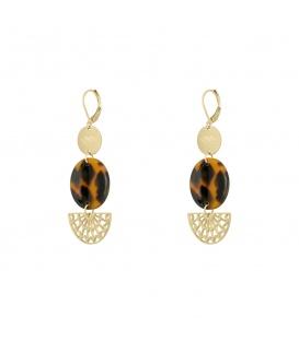 Leuke goudkleurige oorbellen met tortoise print