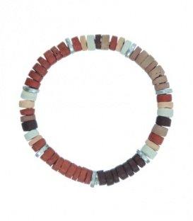 Roest / Terra gekleurde armband met schijfjes van hout