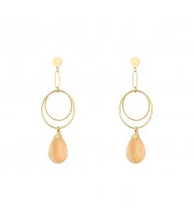 Leuke goudkleurige oorbellen met 2 cirkels en bedel en een bruine hanger van natuur steen