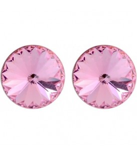 Oorsteker oorbellen met roze Swarovski steen (12 mm)