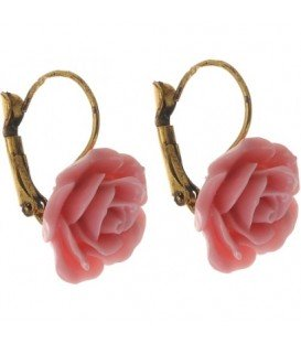 Roze roosjes oorbellen