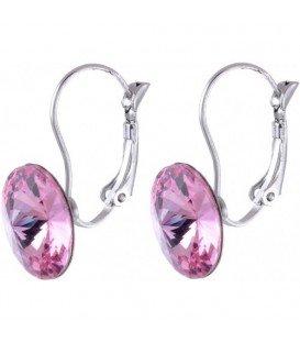 Swarovski oorbellen met roze strassteen 10 mm