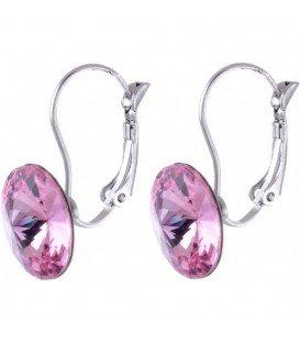 Swarovski oorbellen met roze strassteen 14 mm
