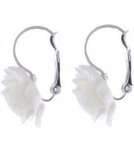 Witte roosjes oorbellen