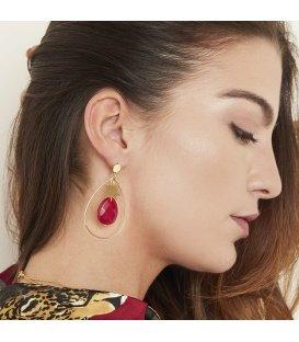 Goudkleurige oorbellen met zon en gele steen