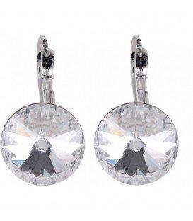Swarovski oorbellen met heldere strassteen 14 mm