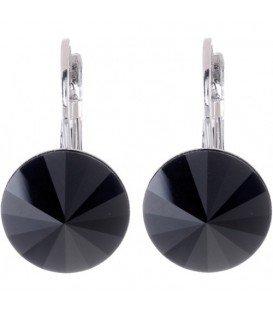 Swarovski oorbellen met zwarte strassteen 14 mm