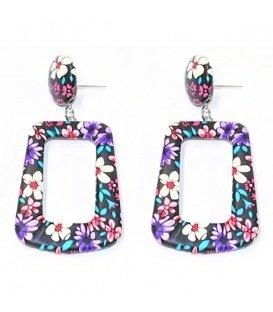 Gekleurde oorbellen met bloemen print