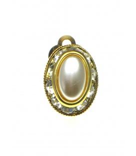 Ovale goudkleurige oorclips met parel hart en strass steentjes rand