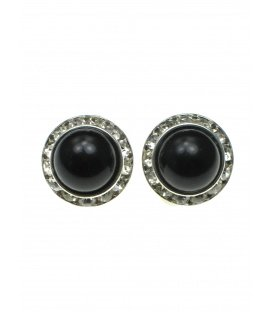 Oorclips met zwarte halve parel en strass steentjes rand