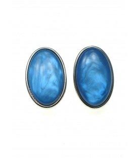 Blauwe ovale oorclips met kunsthars inleg