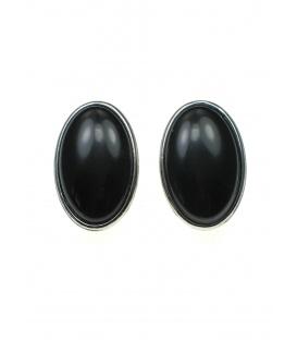 Zwarte ovale oorclips met kunsthars inleg