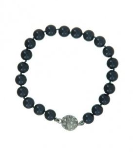 Blauwe parel armband met magneet sluiting