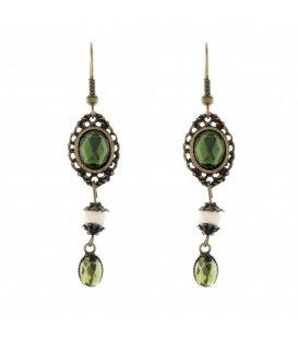 Antiek goudkleurige oorhangers met groen steentje
