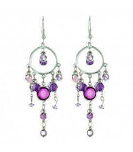 Zilverkleurige oorbellen met paarse hangers
