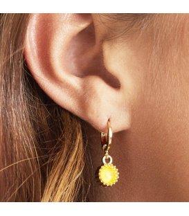 Zilverkleurige oorbellen met gele swarovski steen