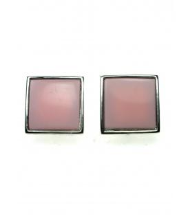 Oorclips met roze invulling en zilverkleurige rand