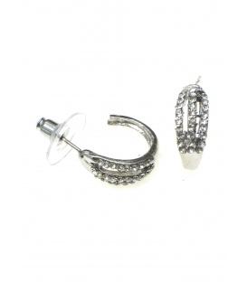 Ronde oorbellen met heldere strass steentjes. Diameter van de oorsteker is 1,5 cm.