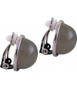 Grijze ronde oorclips met zilverkleurig rand