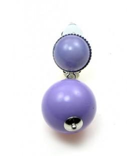 Oorclips met paarse bolvormige hanger