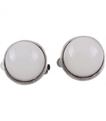 Witte ronde oorclips met zilverkleurig rand