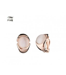 Rose gold oorclips met een cate eye steen