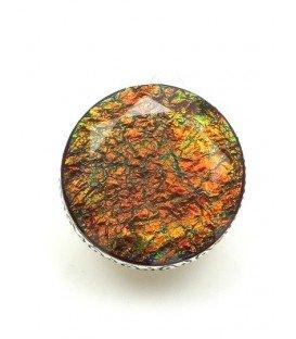 Mooie iriserende ronde oorclips in zilverkleurige zetting