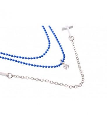 Halsketting 3 stengen met zilverkleurige en blauwe kralen