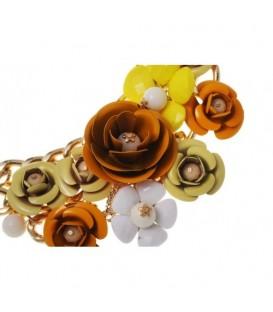 Goudkleurige metalen schakelketting met bruine en gele bloemen