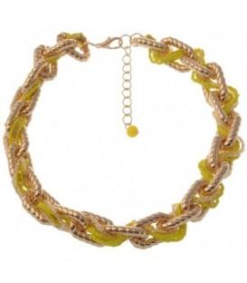 Rose gold schakelhalsketting met gele kralen