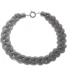 Zilverkleurige halsketting met gaas strengen