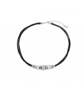 Zwarte koordketting met zilverkleurige ringen en strass