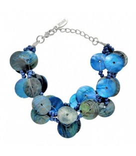 Blauwe 3 strengs parelmoer plaatjes armband