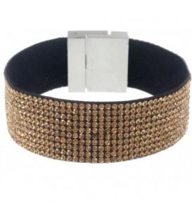 Armband met heldere goudkleurige strass steentjes