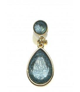 Mooie oorclips met blauwe gemarmerde heldere steen