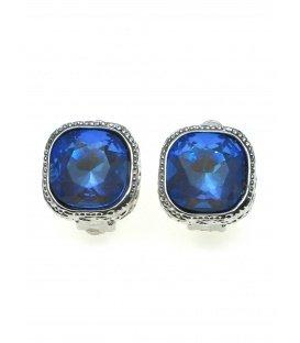 Helder blauwe strass steen oorclips in zilverkleurige zetting