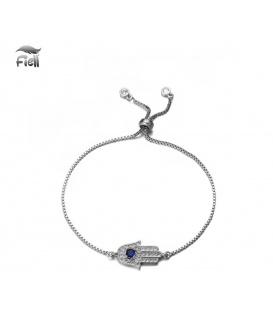 Zilverkleurige fijne armband met Hamsa bedel en Zirconia steentjes