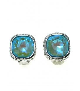 Helder lichtblauwe strass steen oorclips in zilverkleurige zetting