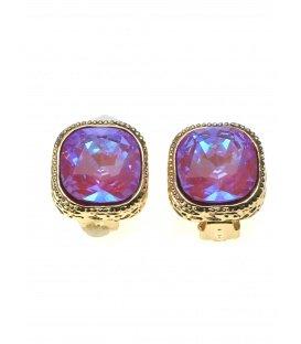 Roze blauwe strass steen oorclips in goudkleurige zetting