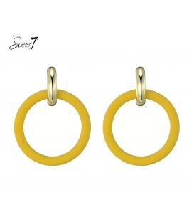 Gele ring oorbellen met goudkleurige oorring steker