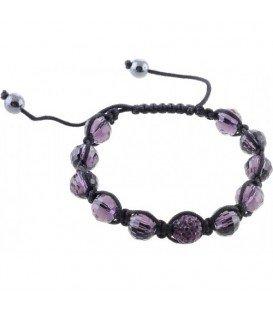 Armband met paarse facet kralen en strass