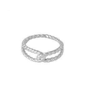 Zilverkleurige ring (ringmaat 16)