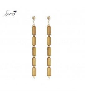 Oranje lange oorbellen met goudkleurige accenten van Sweet7