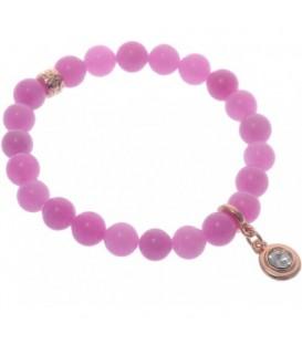 Armband van roze natuursteen kralen (Agaat)