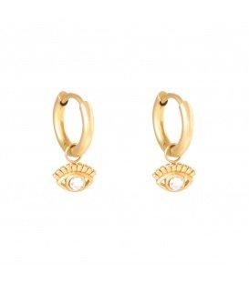Goudkleurige oorbellen met een oogbedel en zirconia steentje