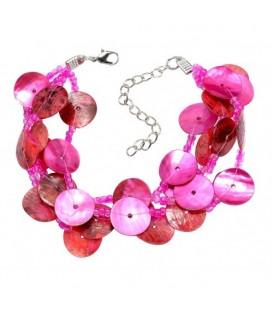 Roze parelmoer plaatjes armband