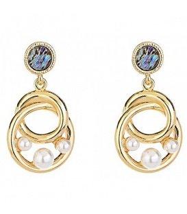 Goudkleurige oorbellen met 3 kunst parels